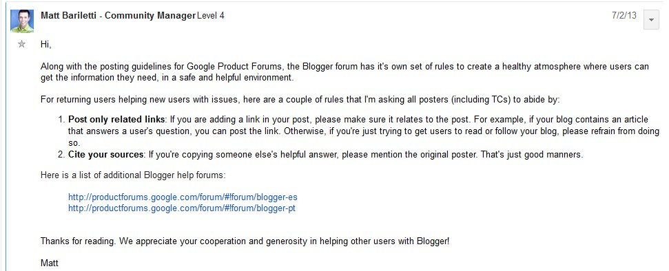 forum post from Matt Bariletti