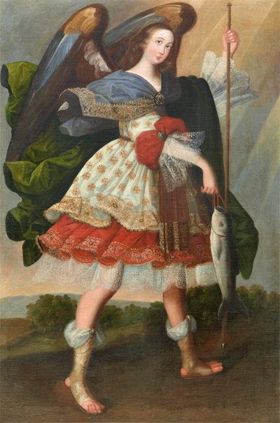 possibly Leonardo Flores (Bolivian, active 1665-1683), Archangel Rafael, 1670s, oil on canvas, Bequest of Elvin A. Duerst